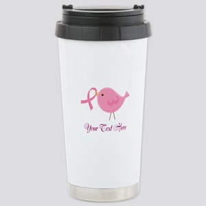 Personalized Pink Cancer Bird Stainless Steel Trav