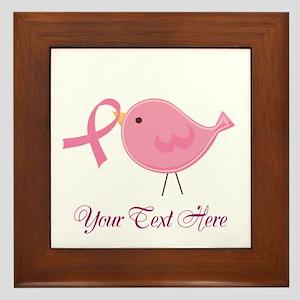 Personalized Pink Cancer Bird Framed Tile