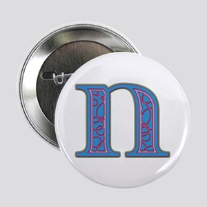 N Blue Glass Button