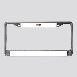 Peace Love Metal License Plate Frame