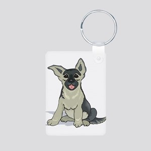 German Shepard pup Aluminum Photo Keychain