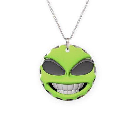 Cheesy Smile Alien Face Necklace Circle Charm