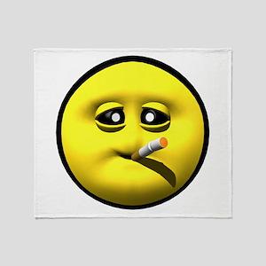 Smoking Cigarette Face Throw Blanket