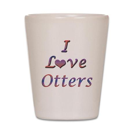 I Love Otters Shot Glass