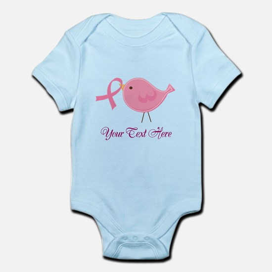 Personalized Pink Cancer Bird Infant Bodysuit