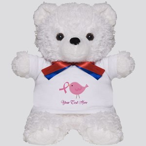 Personalized Pink Cancer Bird Teddy Bear