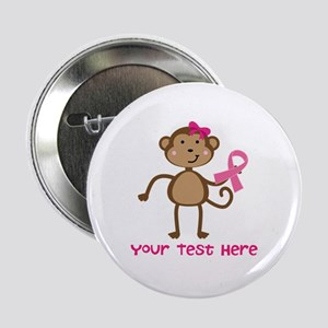"Custom Breast Cancer Monkey 2.25"" Button (100 pack"