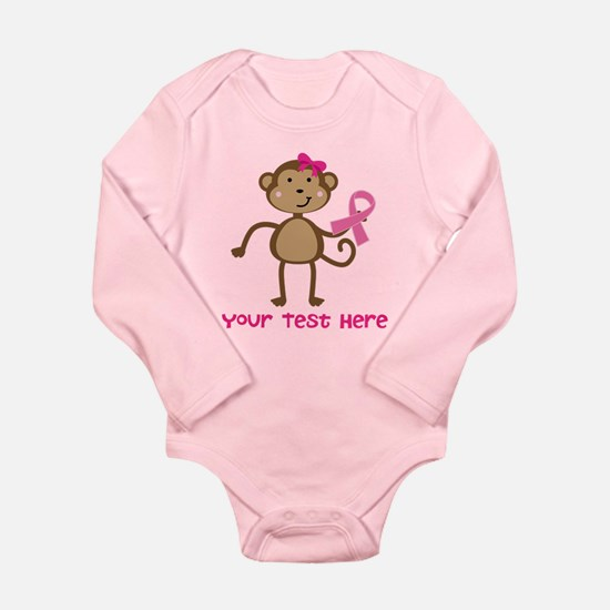 Custom Breast Cancer Monkey Long Sleeve Infant Bod