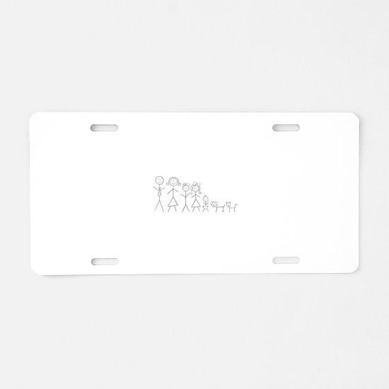 Unique Stick figure family Aluminum License Plate