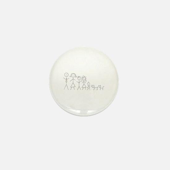 Cute Stick figure family Mini Button