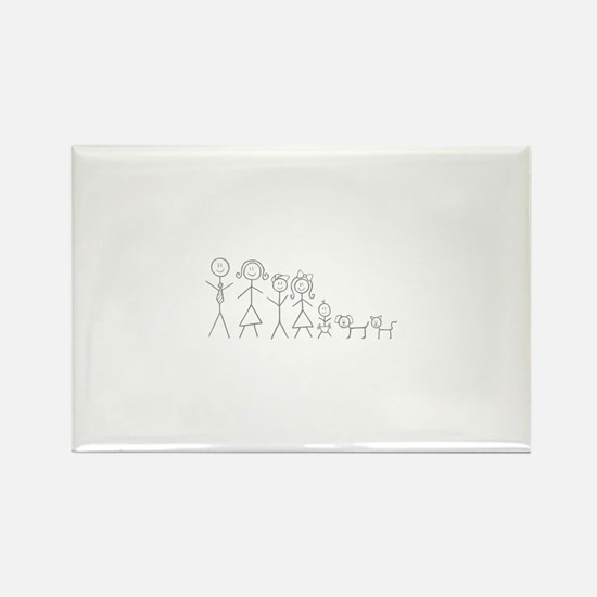Cute Stick figure family Rectangle Magnet