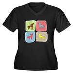 Chinese Crested Women's Plus Size V-Neck Dark T-Sh