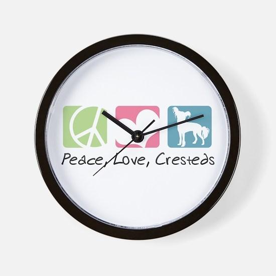 Peace, Love, Cresteds Wall Clock