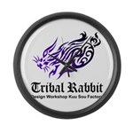 Tribal rabbit Large Wall Clock