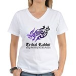 Tribal rabbit Women's V-Neck T-Shirt