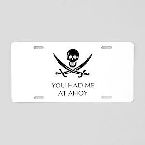 Pirate Ahoy Aluminum License Plate