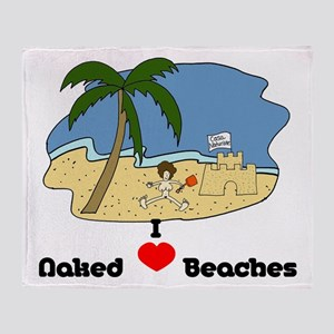 I Love Naked Beaches Throw Blanket