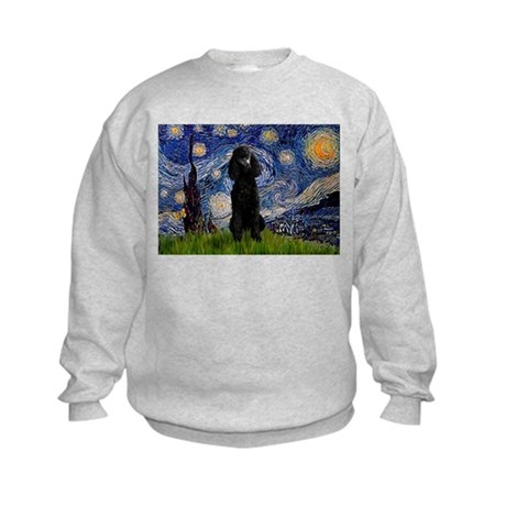 Starry Night Black Poodle Kids Sweatshirt