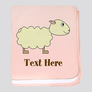 Sheep Cartoon with Custom Text baby blanket