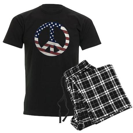 US Flag-Peace Sign-vintage lo Men's Dark Pajamas