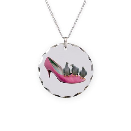 Pigeons Pink Shoe Necklace Circle Charm