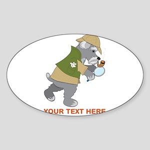 Schnauzer Detective Sticker (Oval)