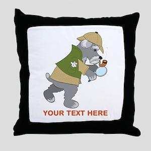 Schnauzer Detective Throw Pillow