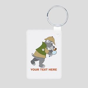Schnauzer Detective Aluminum Photo Keychain
