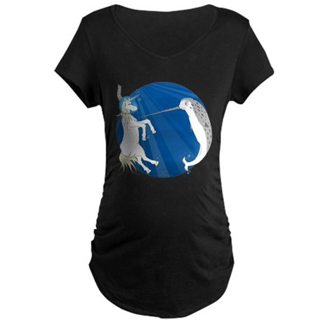 Unicorn Meets Narwhal Maternity Dark T-Shirt