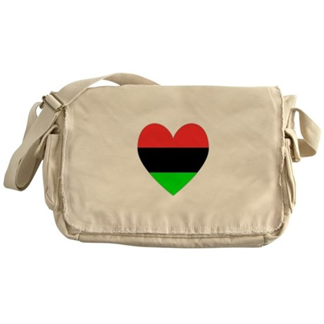 African American Flag Heart Messenger Bag