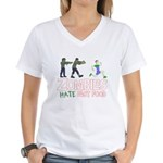 Zombies do not like Fast Food Women's V-Neck T-Shi