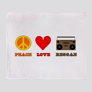 Peace Love Reggae Throw Blanket