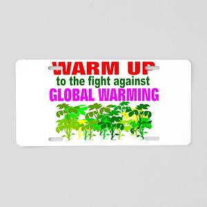 Warm 2 war on global warming Aluminum License Plat