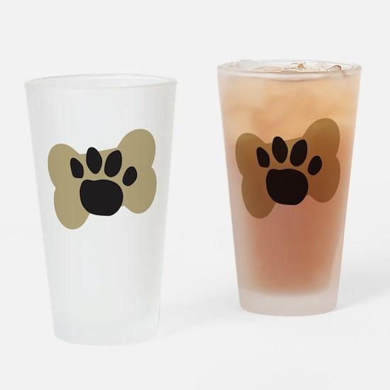 Dog Lover Paw Print Drinking Glass