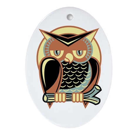 Retro Owl Ornament (Oval)