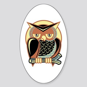 Retro Owl Sticker (Oval)