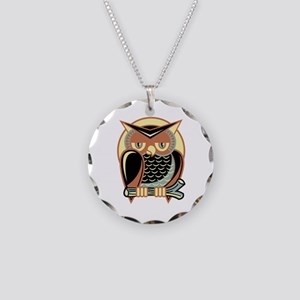 Retro Owl Necklace Circle Charm
