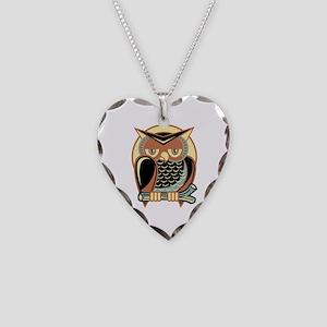 Retro Owl Necklace Heart Charm