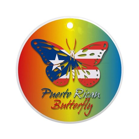 Puerto Rican Butterfly Ornament (Round)