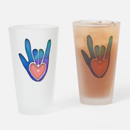 Blue/Pink Glass ILY Hand Drinking Glass