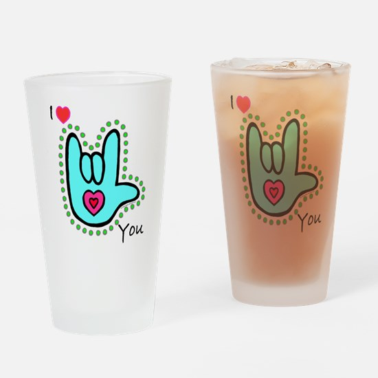 Aqua Bold I-Love-You Drinking Glass