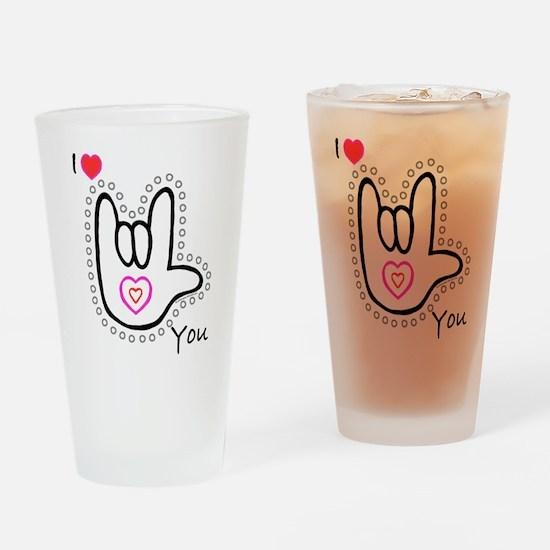 B/W Bold I-Love-You Drinking Glass