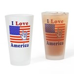 ILY America Flag Drinking Glass