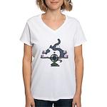 Setsuden cat 2 Women's V-Neck T-Shirt