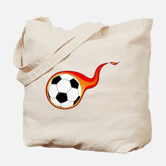 Burning Soccer Ball Tote Bag