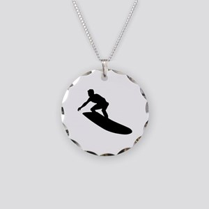 Surfing Necklace Circle Charm