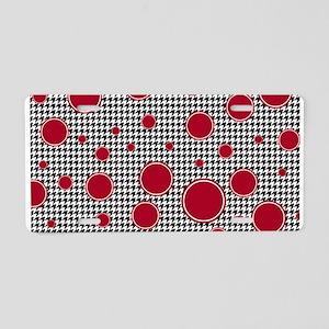 Crimson Circle & Houndstooth Aluminum License Plat