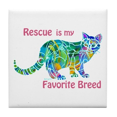 Rescue is Favorite Breed Multi Colors Tile Coaster
