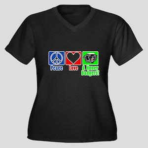 Peace, Love & Honey Badgers! Women's Plus Size V-N