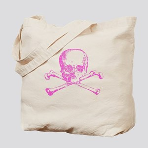Pink Skull and Bones Tote Bag